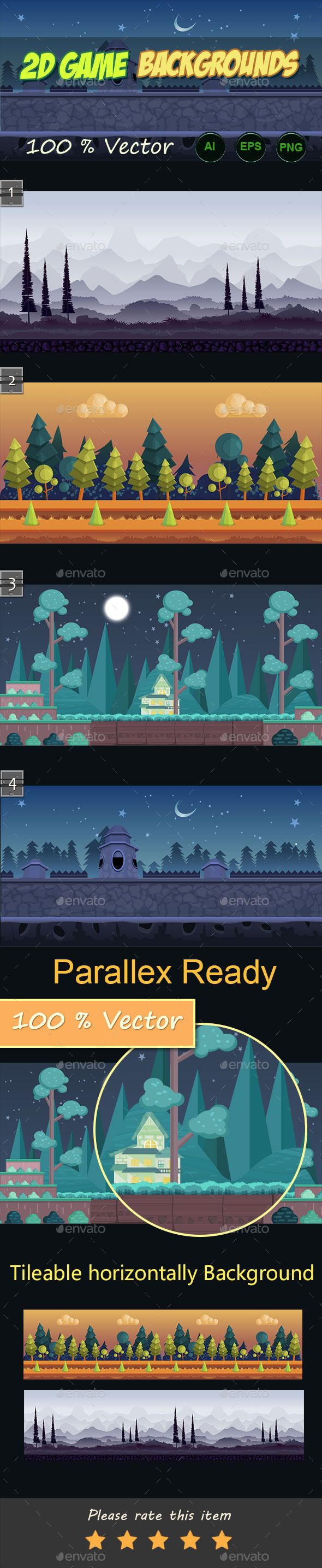 2d game backgrounds — Vector EPS #bg #backgrounds • Available here → https://graphicriver.net/item/2d-game-backgrounds/11249620?ref=pxcr