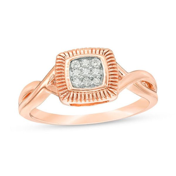 1 15 Ct T W Composite Diamond Square Twist Promise Ring In 10k Rose Gold Rose Gold Promise Rings Rings