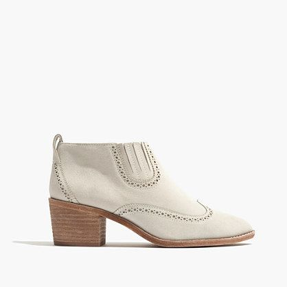 """Our design team took age-old Western boot details—a stacked raw leather heel, a pointy toe—and cut them low on the ankle to make your legs look even longer. A pull-on style for in-between weather (just add cropped jeans). When you select your size, """"H"""" equals a half size. <ul><li>2 1/8"""" heel.</li><li>Suede upper.</li><li>Leather lining and sole.</li><li>Import.</li><li>Madewell.com only. <&#..."""