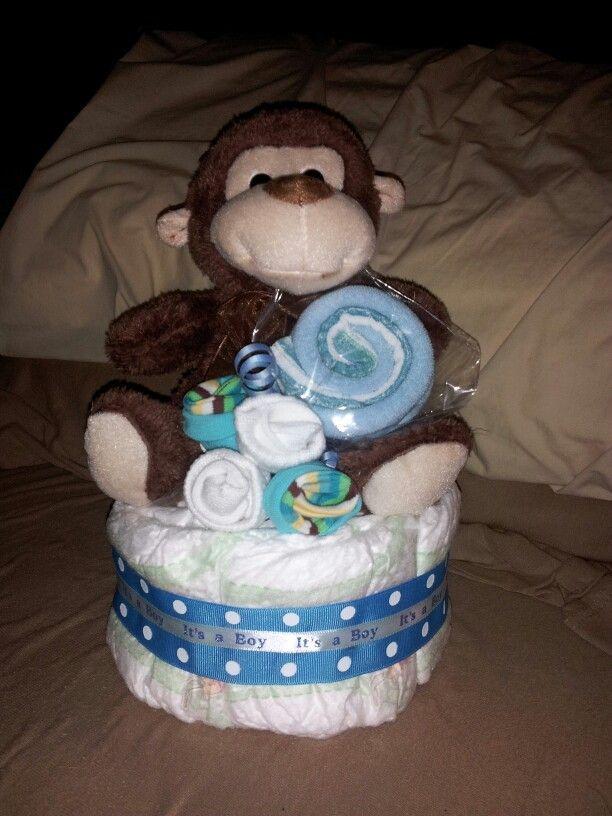 small diaper cake for boy   Boys mini diaper cake, $25.
