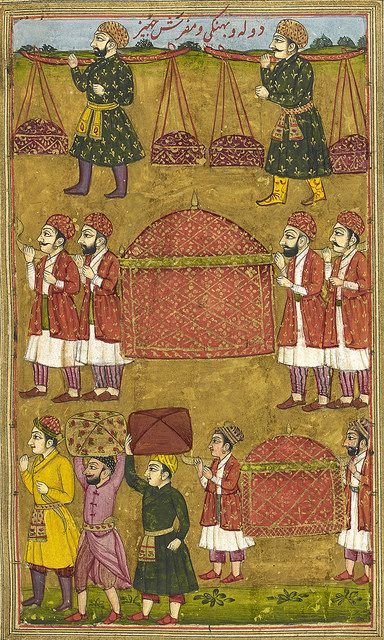An abridged version of Khusrau u Shirin by Nizami. Sixty-three miniatures. - caption: 'Gifts and palanquins sent by Khusrau to Shirin.' | by The British Library
