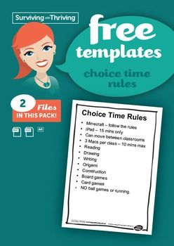 FREE CHOICE TIME RULESA poster outlining appropriate behaviours during free time. Personalise to your own classroom.