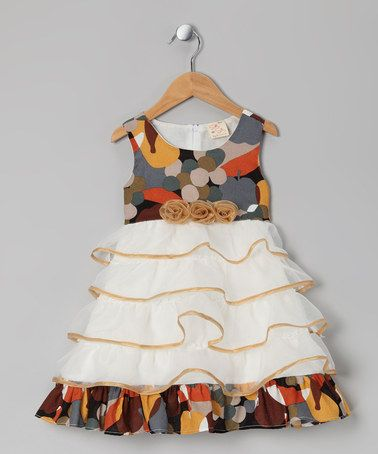 Take a look at this Gold Rosette Ruffle Dress - Toddler & Girls by the Silly Sissy on #zulily today!