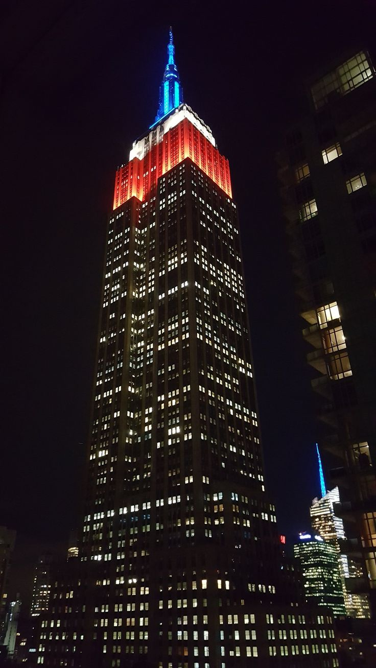 November 11, 2016: The Empire State Building honors the service and sacrifices of America's military veterans by shining in red, white and blue for Veterans Day. Photo taken previously by Brent F. (brentcodes on Twitter).