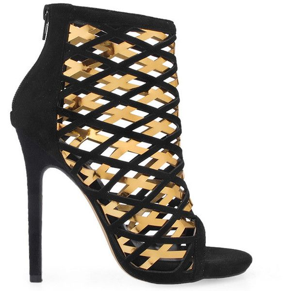 Privileged Women's Cassidy - Black/gold featuring polyvore women's fashion shoes peep toe shoes zipper shoes black high heel shoes black cage shoes peep-toe shoes