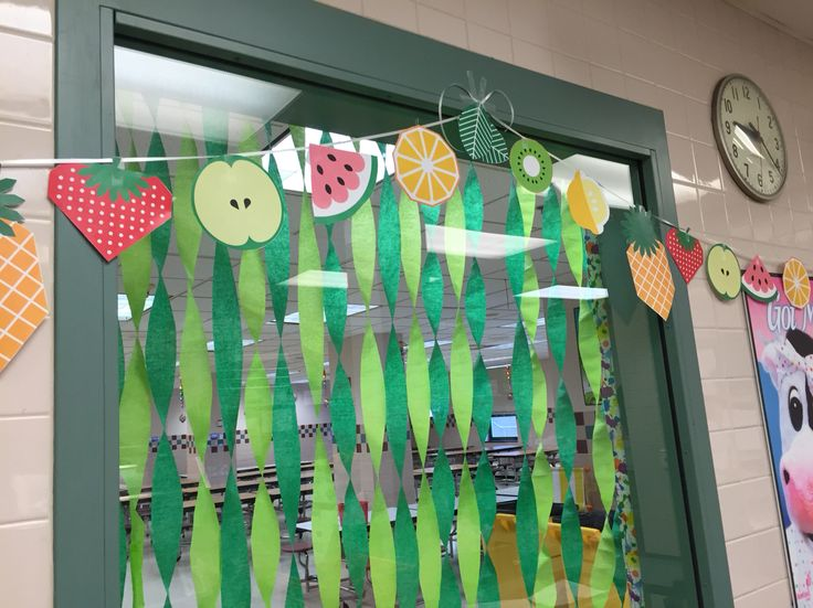 The very hungry caterpillar cafeteria decorations tall grass and fruit garland for the serving line