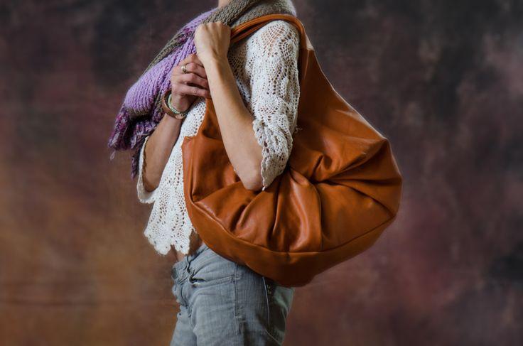 Tan Brown Hobo Tote / Italian Leather Handbag / by LunaBagDesigns, $320.00