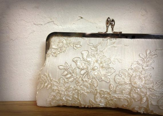 Hey, I found this really awesome Etsy listing at https://www.etsy.com/listing/123614992/tru-luvs-lace-pearl-bridal-clutch-ivory