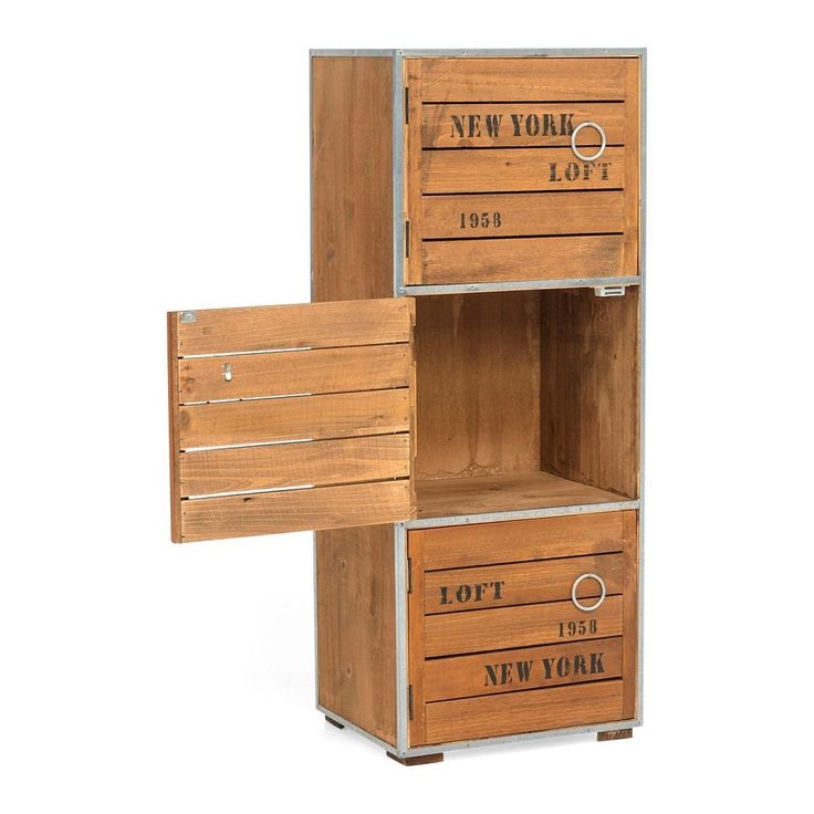 Cupboard Cabinet New York Loft Style Vintage Retro Industrial Design with 3 Drawers brown 28,5 x 22,5 x 71 cm: Amazon.co.uk:…