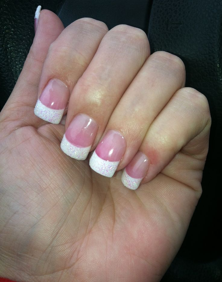 Pink and white acrylic: glitter tips