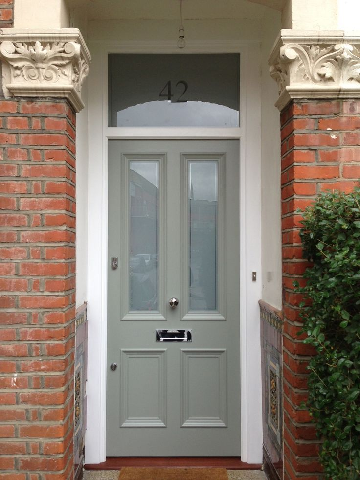 A lovely Victorian 4 panel front door in Farrow & Ball Pigeon No. 25 exterior eggshell