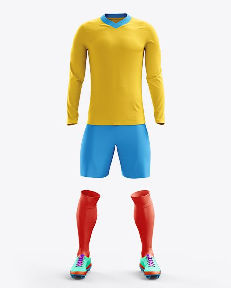 Football Kit With V-Neck Long Sleeve Mockup / Front View. Preview