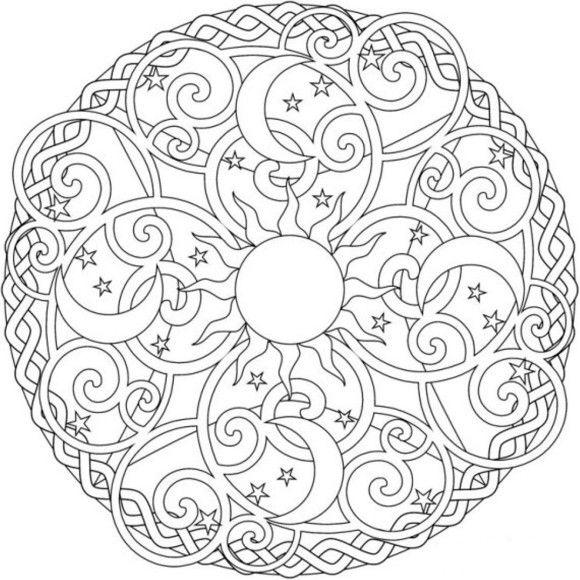 Sun Moon And Stars Mandala Coloring Pages