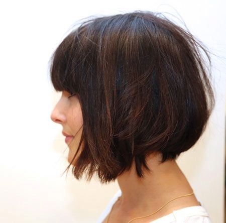 Short chestnut bob with fringe