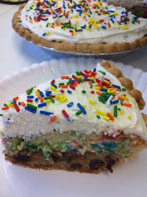 Cookie Cake PieCookies Dough, Cookie Cakes, Pies Crusts, Cake Mixed, Cake Mixes, Cookie Dough, Cookies Cake, Cake Pies, Birthday Cake