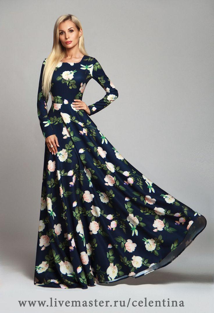 Купить Длинное нарядное платье в пол - тёмно-синий, цветочный ...