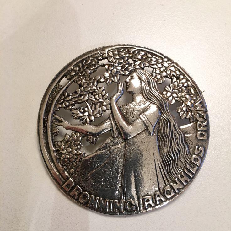 Gustav Gaudernack design for own workshop. Silver brooch with motif from viking saga (The dream of queen Ragnhild). 1910-1914