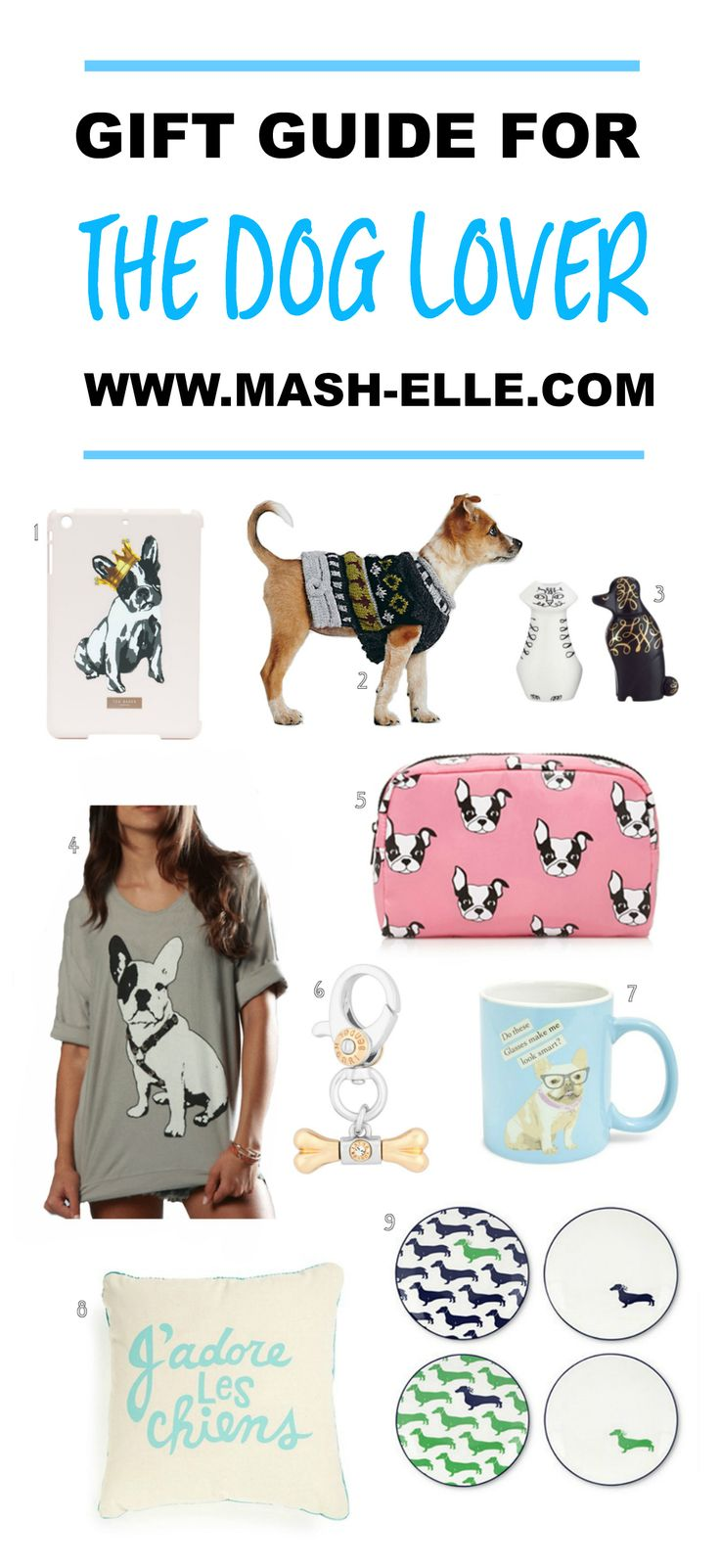 A complete gift guide for all the dog lovers in your life! From dog patterned decor to dog sweaters, this list has it all!