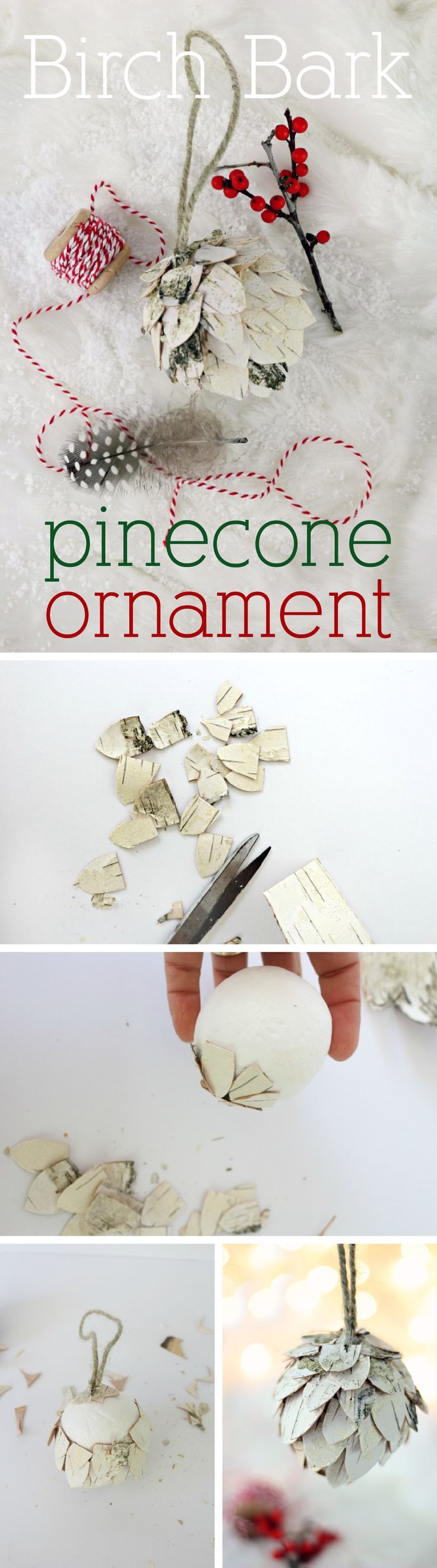 Birch bark brings that beautiful woodland touch into your home and onto your tree with this DIY pine cone ornament: www.ehow.com/...