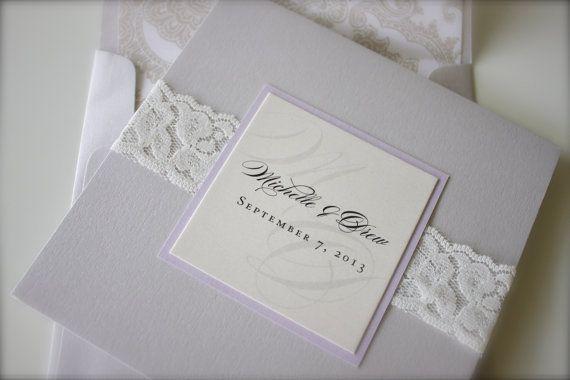 Lace Wedding Invitation: custom. lace. pattern. metallic. pocket. silver. lavender. ivory. monogram.