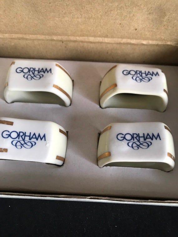 80s Gorham china napkin holder set of 4 in box – vtg – mid century tableware – dining – kitchen repl