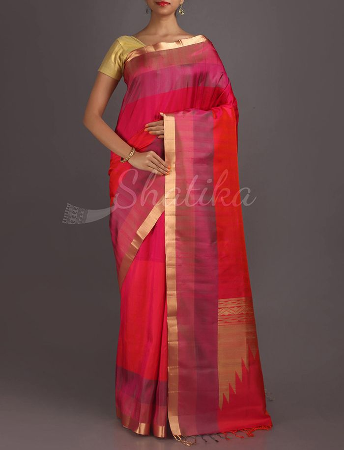 Jotsana Pink Gold Ornate Border Pallu Pure #PattuSilkSaree