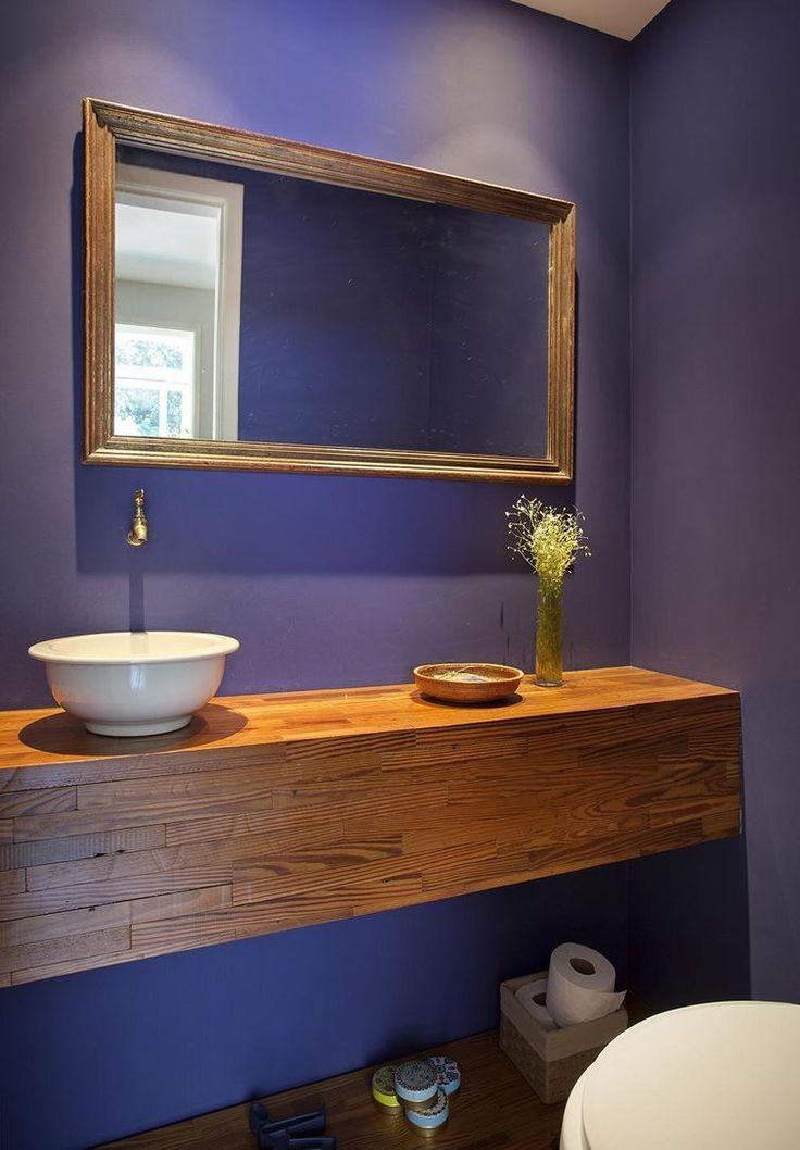 como decorar um banheiro - cuba de apoio A cuba redonda de apoio deixou o ambiente delicado.