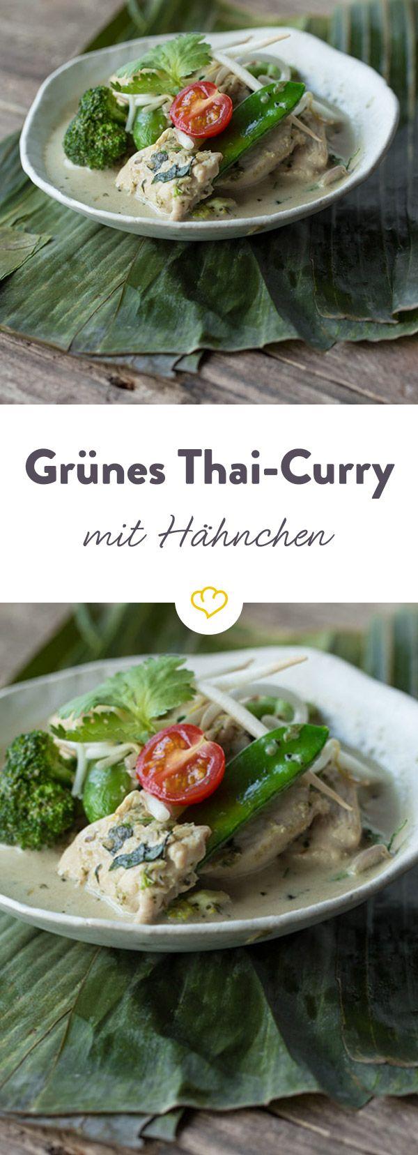 Fernweh auf der Zunge: Feuriges, grünes Thai Curry in neuem Gewand: Mit Brokkoli, knackigen Zuckerschoten und zartem Hähnchenbrustfilet