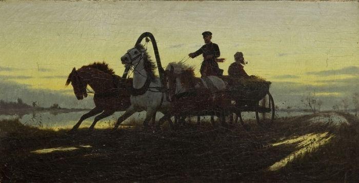 Włodzimierz  Łoś - Zaprzęg na drodze, 1882 r.