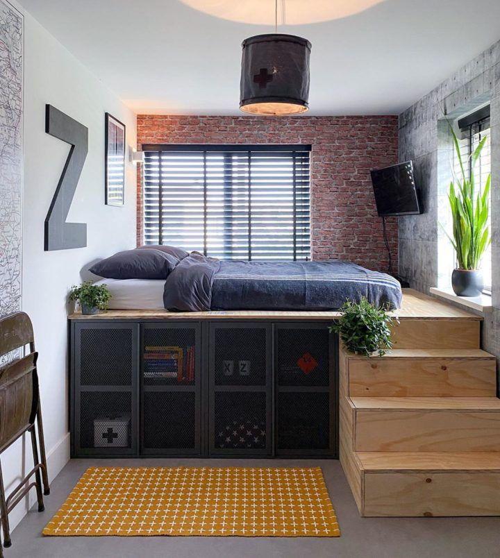 Urban Chic Industrial Home In 2021 Industrial Bedroom Design Tiny Bedroom Design Small Room Design Industrial bedroom storage ideas