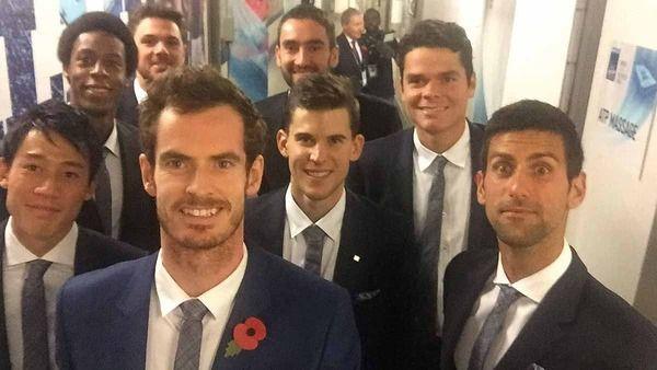 Elite8 selfie at ATP World tour finals : Andy Murray ,Novak Djokovic, Stan Wawrinka, Milos Raonic, Kei Nishikori , Gael Monfils, Marin Cilic and Dominic Thiem