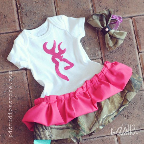 Baby Girl Hunting Pink Browning Camouflage Dress with Ruffles and Headband