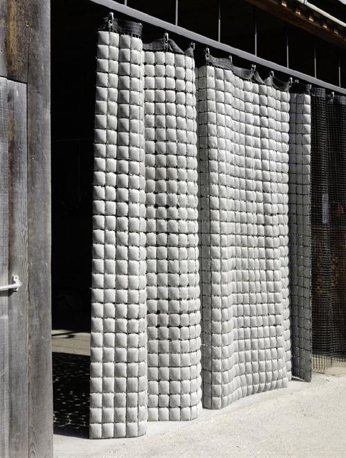 Concrete tiles curtain