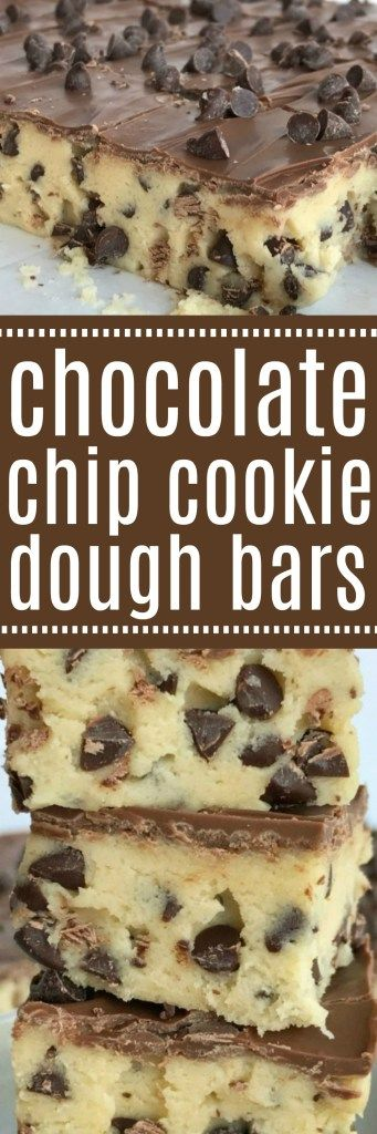 If your favorite part of making cookies is the dough then you will LOVE these no bake chocolate chip cookie dough bars! Such a fun & sweet dessert recipe that will satisfy any sugar or cookie dough craving   www.togetherasfamily.com