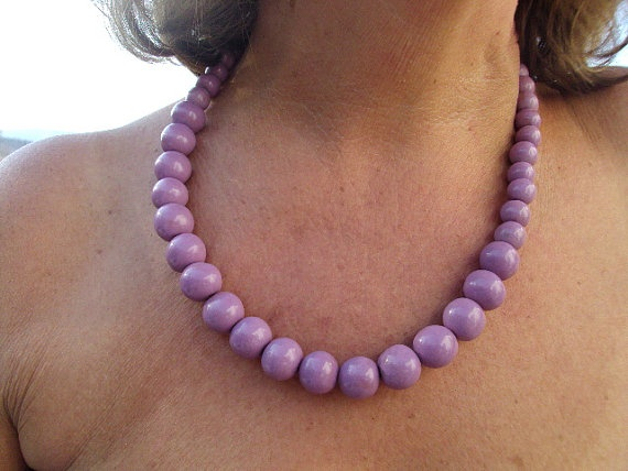 Handcrafted ceramic necklace in light purple