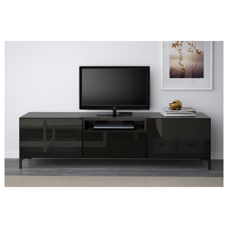 IKEA - BESTÅ TV bench black-brown, Selsviken high gloss/black smoked