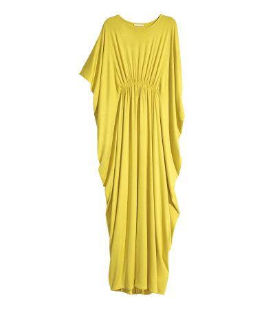 Yellow jersey knit maxi dress