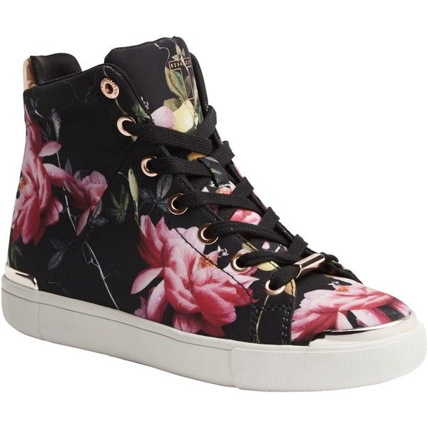 Ted Baker Vleil High Top Flat Trainers, Citrus Bloom Print ($130) ❤ liked on Polyvore featuring shoes, sneakers, high low tops, flat sneakers, canvas lace up sneakers, lace up flat shoes and hi low tops