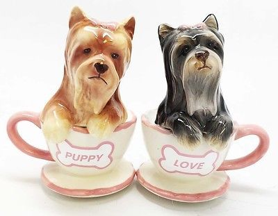 Tea Cup Yorkie Dog Puppy Ceramic Salt and Pepper Shakers Gift Yorkshire Terrier