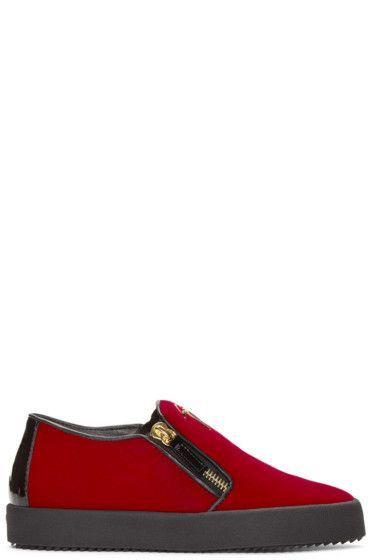 aff085a5eba9 Giuseppe Zanotti - SSENSE Exclusive Red   Black Velour Slip-On London  Sneakers  GiuseppezanottiHeels
