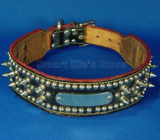 vintage black leather spiked dog collar-in Dogs from Home & Garden on Aliexpress.com