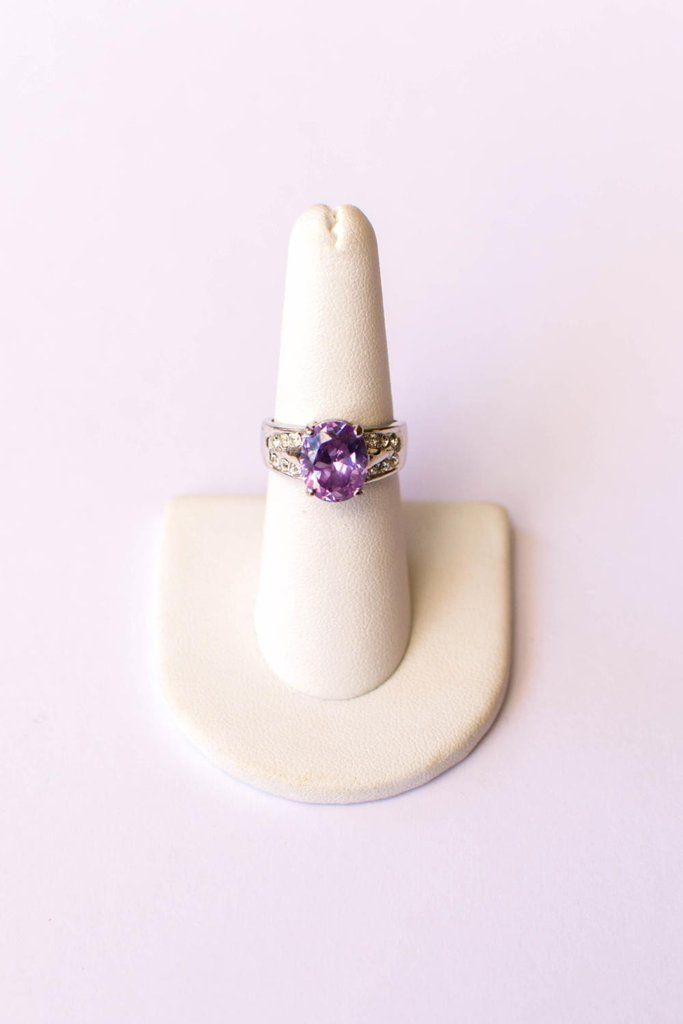 Iolite Oval Solitaire Ring with Pave Cubic Ziroconia Accents set in Silver Tone
