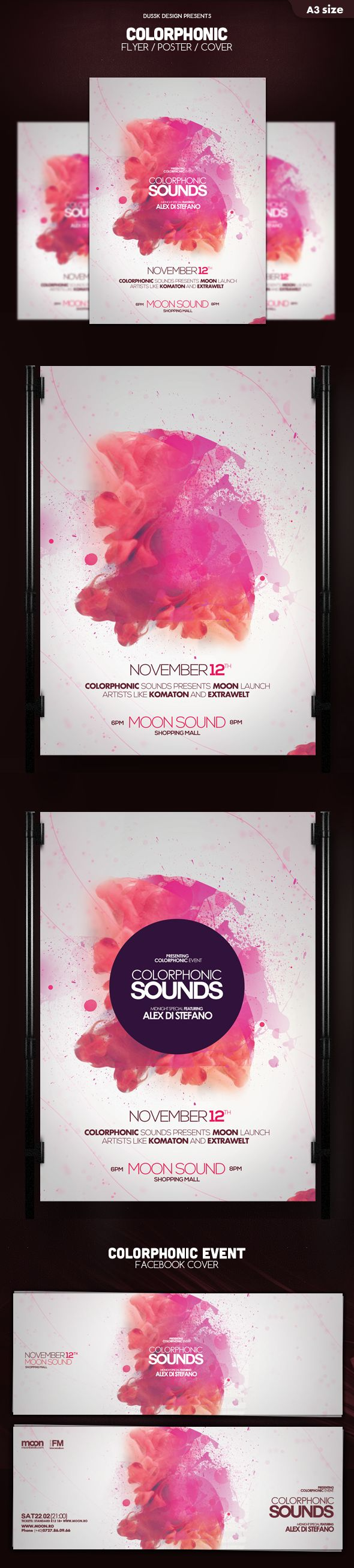 Colorphonic Poster Flyer by Iulian Balinisteanu, via Behance