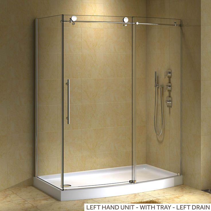 """58"""" x 30"""" Sloan Left Corner Shower Enclosure - Without Tray - Brushed Aluminum"""