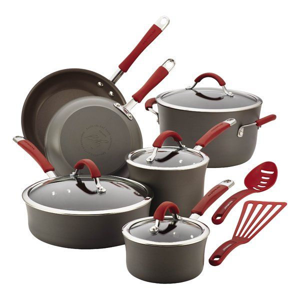 Enhance the cooking experience with the durable, artisan-styled pots and pans in the Rachael Ray cucina hard anodized nonstick 12-piece cookware set. Sturdily crafted from hard anodized aluminum, the attractive rustic, modern cookware provides fast, even heating, helping to reduce hot spots that can burn foods. The appealing gray colored nonstick is pfoa-free and long lasting to provide easy food release and cleanup. Offering a comfortable grasp, the rustically designed cookware's silicon...