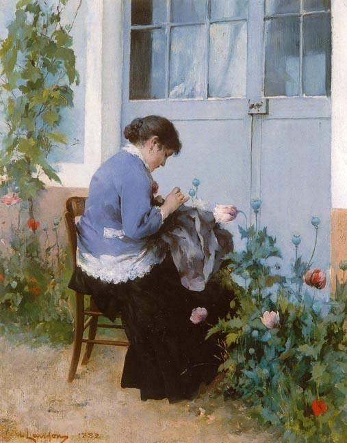 Couture, aquarelle de Carl Larsson (1853-1919, Sweden)