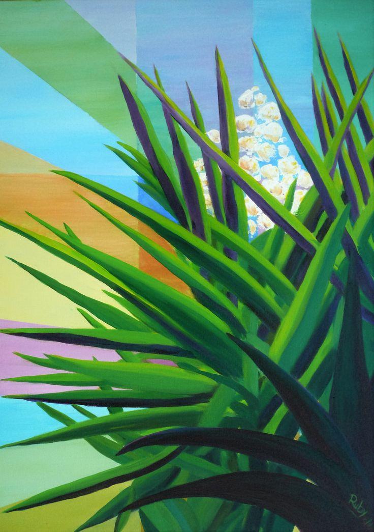 Yucca blossoms at Metaxart studio garden By Ruby Van Assendelft