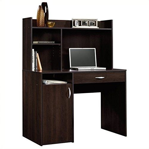 desk with hutch in cinnamon cherry color with a lot of storage space rh pinterest com