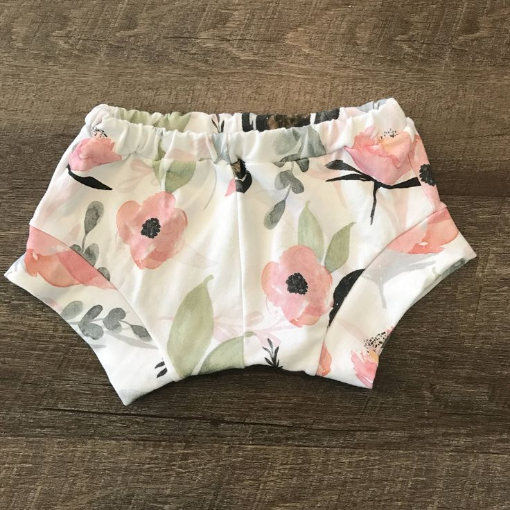 A personal favorite from my Etsy shop https://www.etsy.com/listing/534018527/grey-pink-floral-shorties-sew-twich