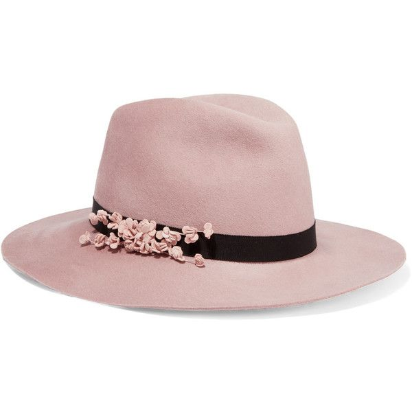 Eugenia Kim Geogina floral-appliquéd wool-felt fedora ($440) ❤ liked on Polyvore featuring accessories, hats, flower hat, wool fedora hats, felt fedora hat, rosebud hats and felt hat